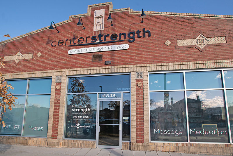 Outside of Center Strength Studio on South Broadway in Denver, Colorado